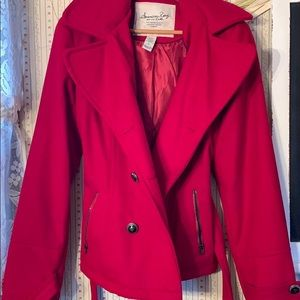 Red polyester hooded winter coat